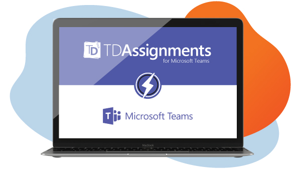 Laptop showing TD Assignments and Microsoft Teams logos