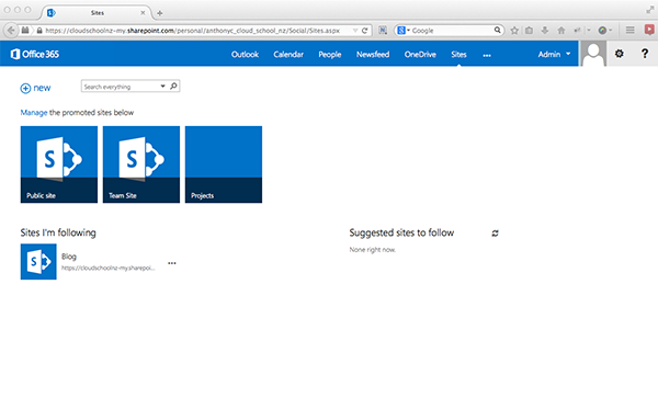 Screenshot of 'Sites' SharePoint environment