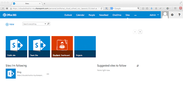 Screenshot showing Student Dashboard icon on SharePoint
