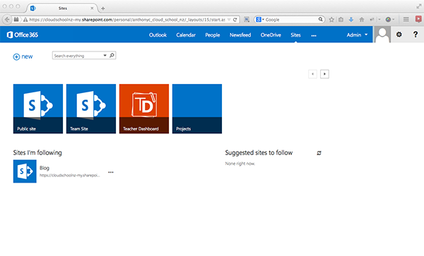 Screenshot of Teacher Dashboard 365 icon on SharePoint