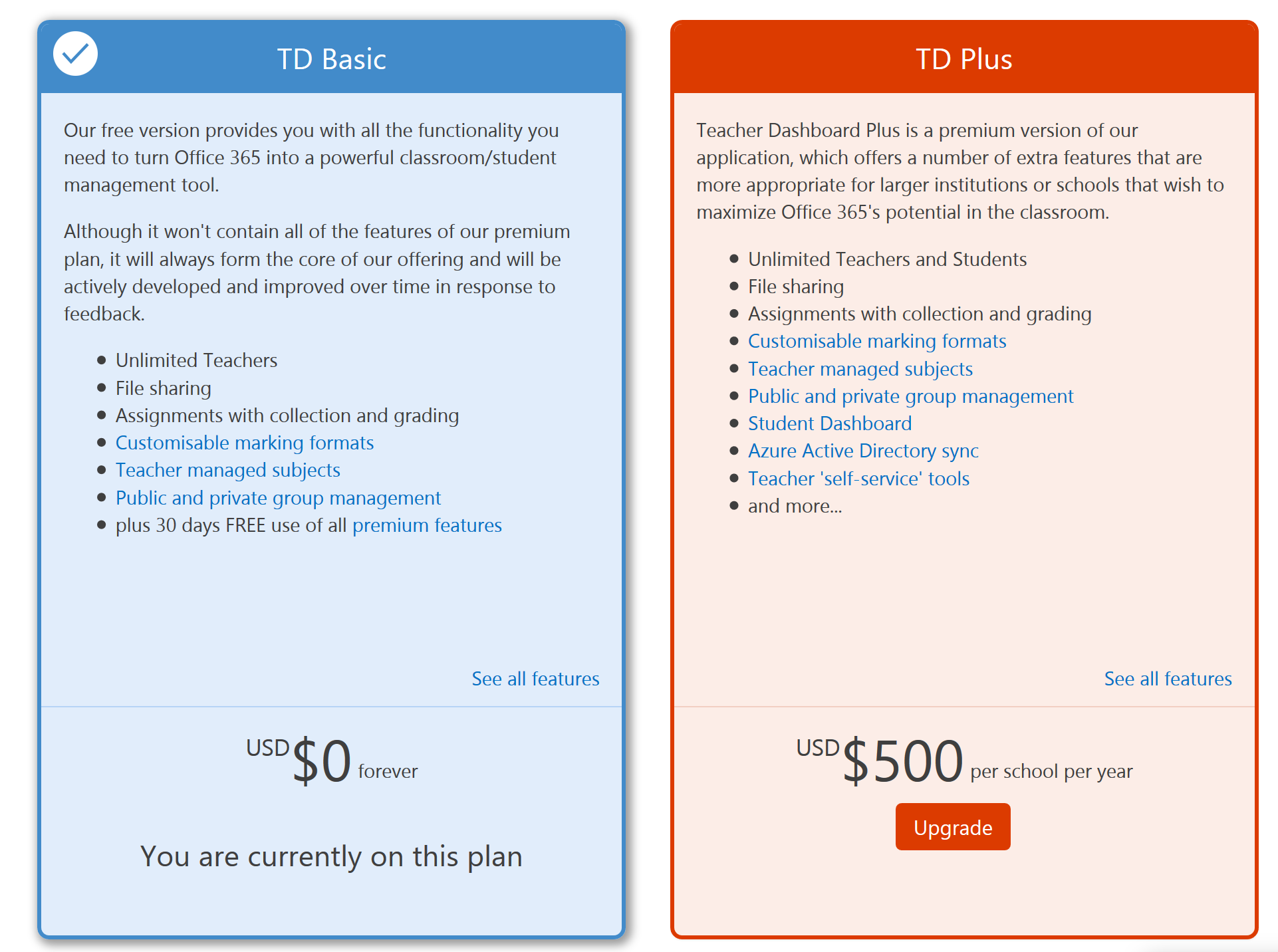 Screenshot of TD Pricing page showing two options