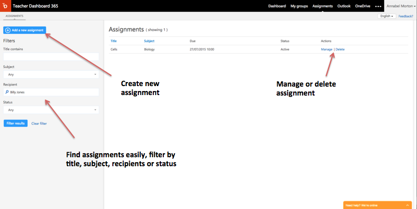 Screenshot of Assignment Manager view