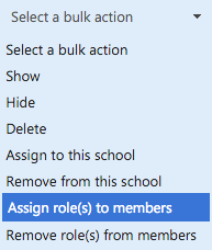 Screenshot of bulk assigning roles