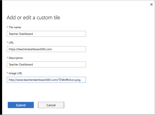 Screenshot of 'Add Custom Tile' popup form