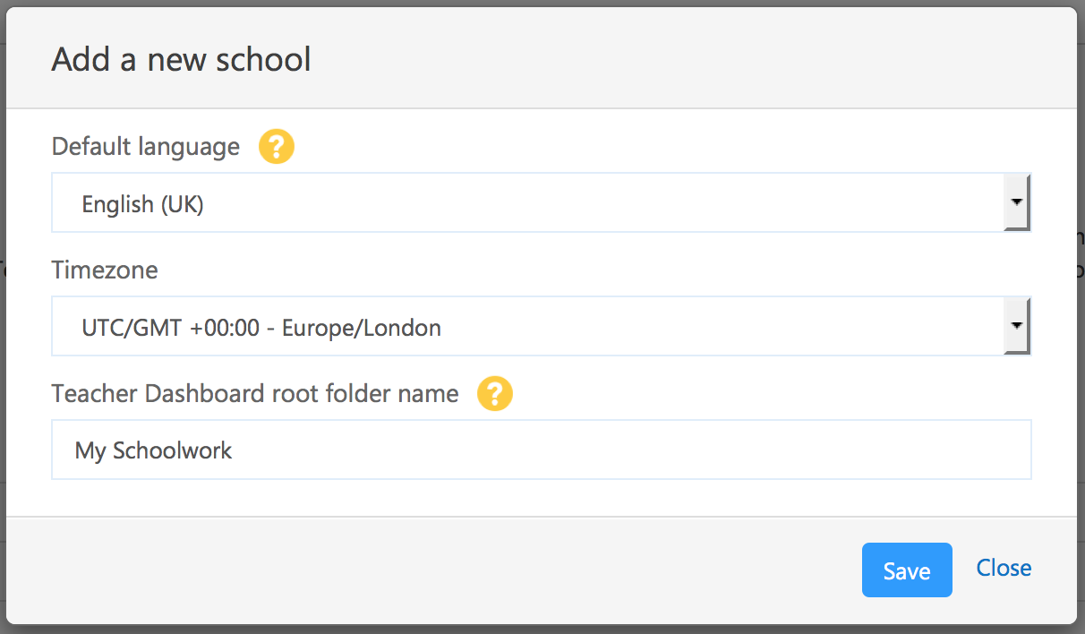 Screenshot of second part of 'Add a new school' modal