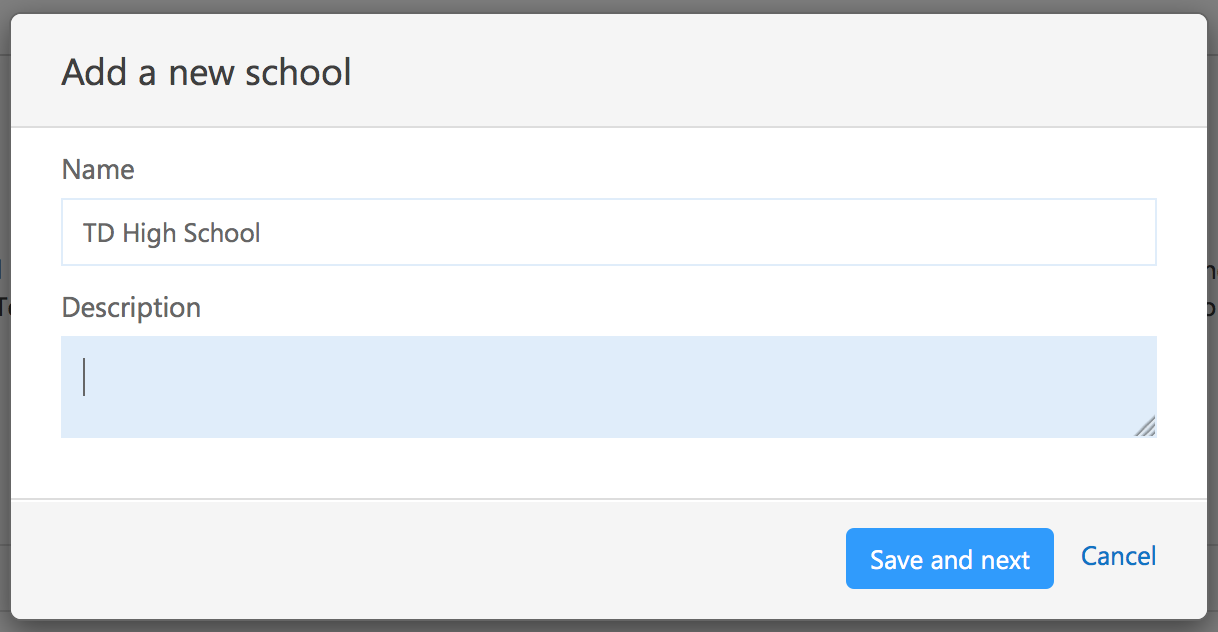Screenshot of 'Add a new school' modal
