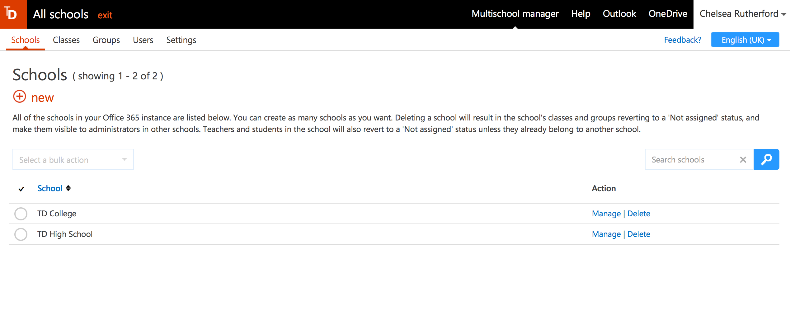 Screenshot of Multi-School Manager