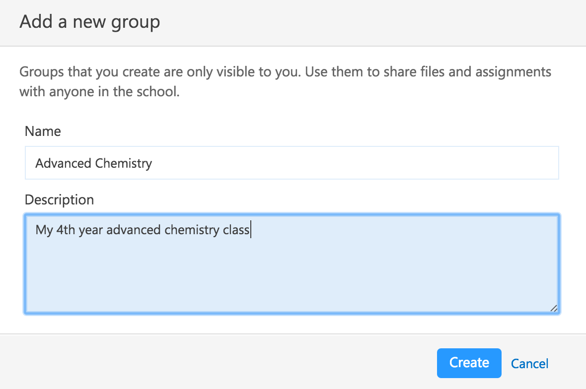 Screenshot showing the modal for new group setup
