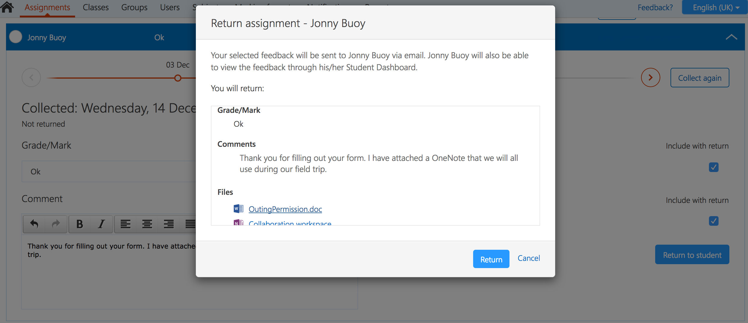 Screenshot showing Assignment Return confirmation screen