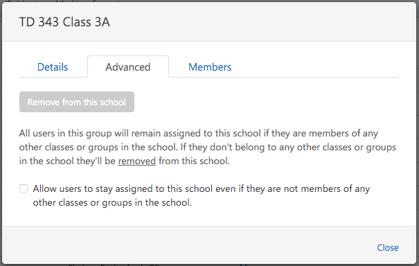 Screenshot showing greyed out screen only for Multi-School administrators