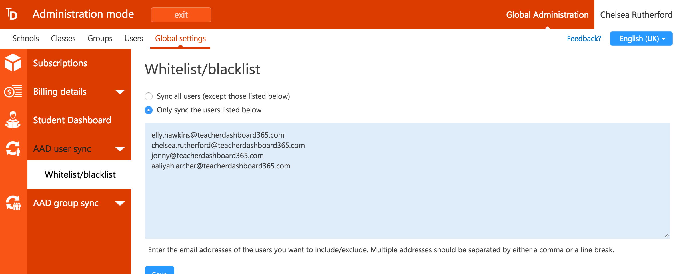 Screenshot of user whitelist setup